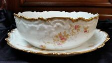 "Antique Limoges Elite Serving Salad Pudding Bowl w Under plate 11.5"" Rd Platter"