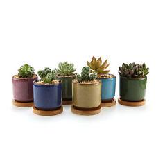 6x Ceramic 2.5 Inch Ice Crack Zisha Succulent Plant Flower Pots With Tray T4U