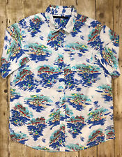 Men Sean John Hawaiian Surfer Button Front Shirt White Blue Size XL