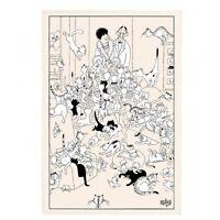 Torchons & Bouchons French Cats DUBOUT Art Kitchen Towel Retour de Soirée $19.95