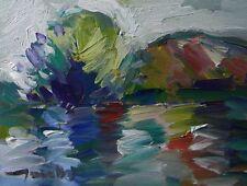 JOSE TRUJILLO ORIGINAL Oil Painting Modern Impressionist RIVER REFLECTIONS HILL