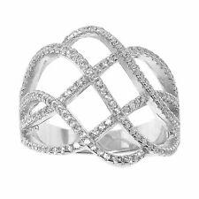 14K WG Sterling Silver SIZE 7 Unique Quadruple Spiral w/ Cubic Zirconia Ring