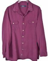 Nat Nast Mens Button Front Shirt Sz XL Long Sleeve Silk Cotton Blend Purple
