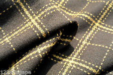 D23 70%WOOL20%CASHMER 10%TENCAL CHOCOLATE BROWN + TAN PLAID CHECK MADE IN ITALY