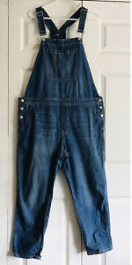 Gap Denim Overalls Womens SZ XL Blue Jean Slouchy Carpenter Jumpsuit For Good