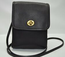 Coach Vintage USA Made Black Leather Turnlock Flap Scooter Bag Crossbody 9893