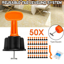 50x Flat Ceramic Floor Wall Construction Reusable Tile Leveling System Kit Tools