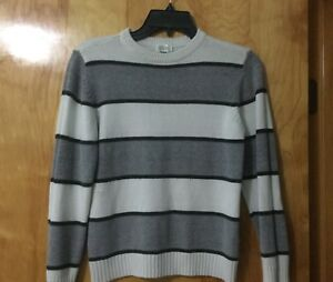 The Childrens Place Gray White Striped Boy Sweater Size M Medium 7/8