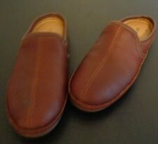 LL Bean Men's Elkhide Scuffs Brown Leather Slip On Slippers Size 13 272349