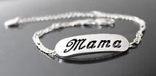 Mama-Pulsera Con Nombre-de 18 quilates chapado Oro Blanco Plateado-Regalos Para Ella