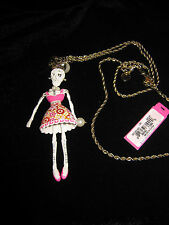 BETSEY JOHNSON WHITE LACE SKULL GIRL WITH PINK DRESS & BLING LONG NECKLACE