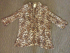 LADIES BROWN ANIMAL PRINT POLYESTER 3/4 SLEEVE TOP BY MILLERS - SIZE 16 -CHEAP