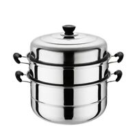 Stainless Steel Three Layer Thick Steamer Pot Soup Steam Pot Universal Cook K4O1