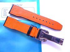 - Strap 22mm Black Leather Orange back 22/18mm - Pilot Flieger b-uhr - IWC Style