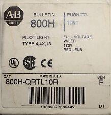 ALLEN BRADLEY Red Lens Push to Test Pilot Light 120V 800H QRTL10R