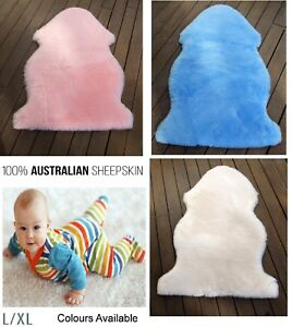 Baby Sheepskin Rug Floor Cot Bed Infant Lambskin Wool Pink Blue Natural Large XL
