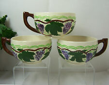 3-CUPS Vintage 1960'S Grape Leaf Vine Pattern Ceramic Pottery BJD DESKINES