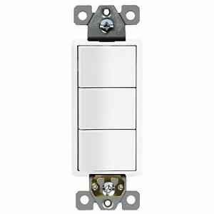 ENERLITES Triple Paddle Rocker Decorator Switch Single Pole 15A 120V
