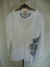 Ladies Blouse/top - Fat Face, size 10, white, floral print/embroidery - 1914