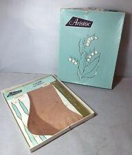 Vintage 1950s 1960s Pair Of Aristoc Seamed Stockings 9 1/2 Coriander Nylons