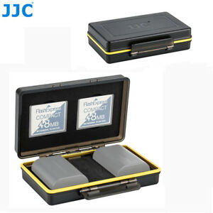 JJC 2 Camera Battery & 2 CF Memory Card Case Holder fr Canon Sony Nikon Fujifilm