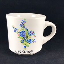 Vintage Retro Alaska Forget Me Not Blue Flower Illustrated Coffee Mug by Papel