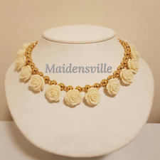Carved Coral Swarovski Crystal Gold Ball Wedding Necklace FREE SHIPPING!!!