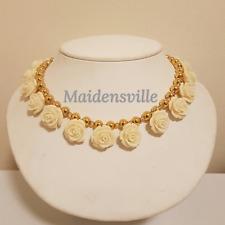 Carved Coral Swarovski Crystal Gold Ball Wedding Necklace + FREE Box