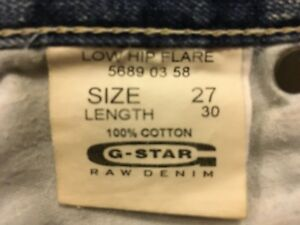 G-Star Raw Denim blue jeans womens size 27in Low Hip Flare