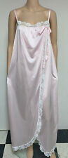 Vintage Gilead Pink Sheer Nylon Lace Trimmed Split Front Long Sissy Nightgown 1X