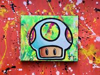 Super Mario Bros Mushroom pop art acrylic painting POWER UP black light art