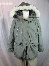 * Lancer * Vintage Extreme Cold Army Green PARKA N-3B Coat w/ HOOD Faux Fur Lg.