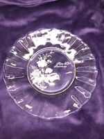 """Vtg Clear Glass HAPPY 50th Anniversary Plate Gold Ring 8.5"""""""