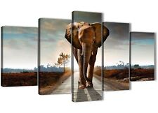 Modern Elephant Landscape - 5 Piece Canvas Wall Art Pictures - 5209 - 160cm