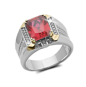 925 Sterling Silver Natural Tourmaline Gem Stone Men's Ring It's Father's Day