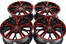 "4 New DDR R25 17x7 5x100/114.3 40mm Black Polished Red 17"" Wheels Rims"