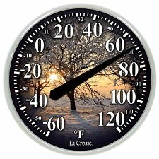"104-1514B La Crosse 13.5"" Indoor/Outdoor Dial Thermometer with Key Hider - Tree"