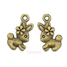 10 Antique Bronze Rabbit & Flower Charms - Easter Bunny - 13mm x 18.5mm NF LF