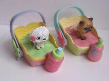 Littlest Pet Shop Magic Motion Bed Sheepdog MM1 Persian Cat Bottles set of 2