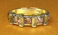 925 Fine Sterling Silver Pink/Clear Gemstone Ladies Band Ring Size-6