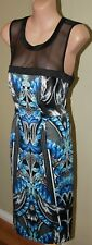 Womens Blue, Black and White Dress - Table Eight - Size 8