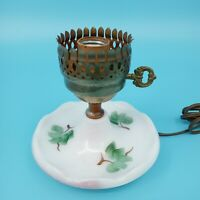 Vintage Table Lamp Boudoir Light Oil Floral Green Brown Leaf Hand Painted