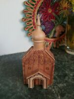 "VINTAGE RUSSIA 5.5"" CARVED WOOD BUILDING Taj Mahal Figure Russian Architecture"