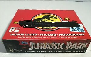 TOPPS Jurassic Park Movie Cards-Stickers-Holograms 36 Packs in Open Box 1992