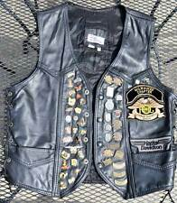 """HARLEY DAVIDSON MOTORCYCLE 100% LEATHER VEST SIZE """"XL"""" WITH HARLEY PINS"""