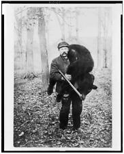 "8"" x 10"" 1909 photo Hunter carrying a large bear"