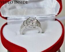 White Gold Excellent VVS1 Solitaire with Accents Fine Diamond Rings