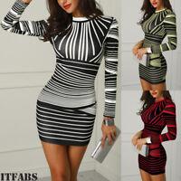 Hot!Womens Bodycon Striped Print Evening Party Cocktail Club Short Mini Dress