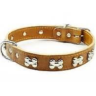 Earthbound Dog Collar - Bone Leather Collar, Light Brown, Medium 34 - 41 cm