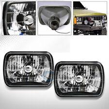 "Universal 7""X6"" Diamond Cut Black Halogen Sealed Beam Head Lights Lamps H4 Ca1"